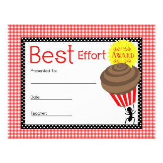 Best Effort Award - Red Gingham With Ant & Cupcake Letterhead Template