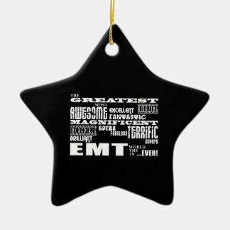 Best EMTs Birthdays : Greatest EMT Double-Sided Star Ceramic Christmas Ornament