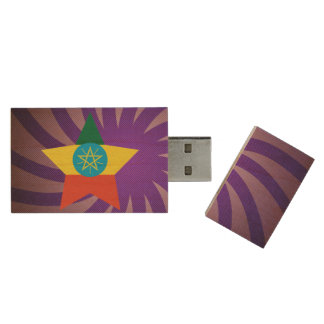 Best Ethiopia Flag Design Wood USB Flash Drive
