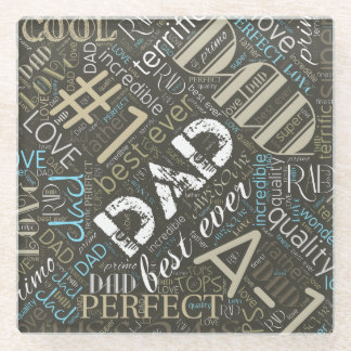 Best Ever Dad Word Cloud ID263 Glass Coaster