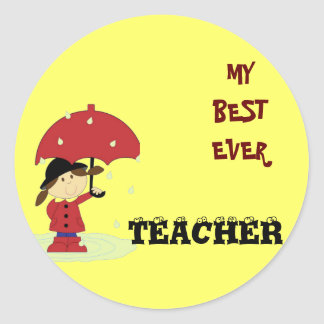 Best Ever Teacher Classic Round Sticker