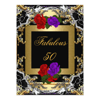 Best Fabulous 50 Purple Red Rose Gold Black Silver Card