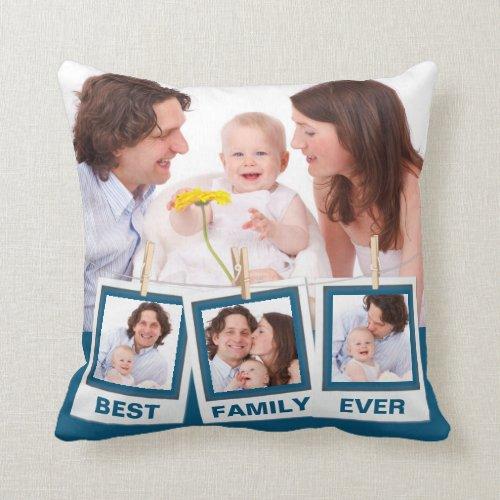 Best Family Ever Custom Instagram 4 Photo Collage Throw Pillow