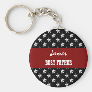 BEST FATHER Black and White Red Ribbon F01Z Basic Round Button Keychain