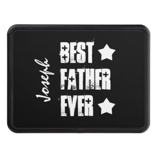 Best FATHER Ever Black White Stars Custom Name Z70 Tow Hitch Cover