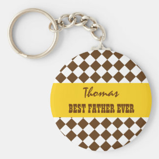 BEST FATHER EVER Brown and Yellow CHECKS V07B Basic Round Button Keychain