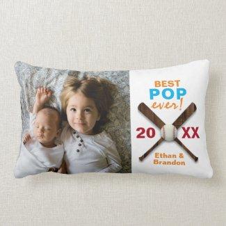 Best Father Pop Ever Baseball Design Custom Photo Lumbar Pillow