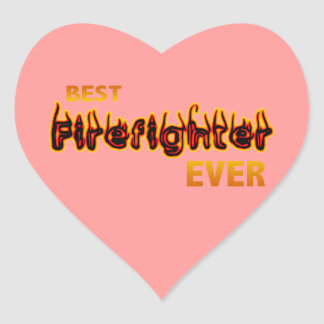 Best Firefighter Ever Heart Sticker