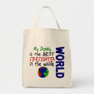 Best Firefighter In World 2 (Daddy) Grocery Tote Bag