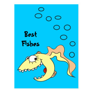 Best Fishes Funny Cartoon Postcard
