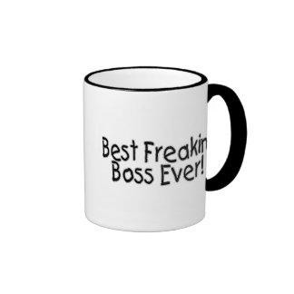 Best Freakin Boss Ever Ringer Coffee Mug