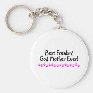 Best Freakin God Mother Ever Basic Round Button Keychain
