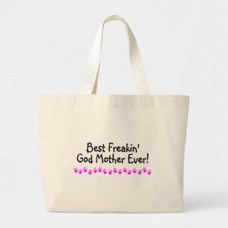 Best Freakin God Mother Ever Large Tote Bag