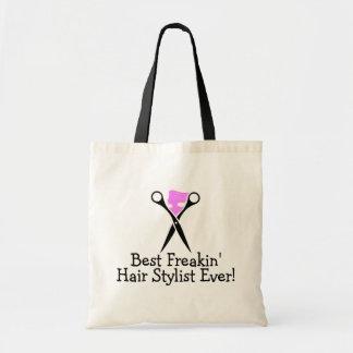Best Freakin Hair Stylist Ever Pink Black Budget Tote Bag
