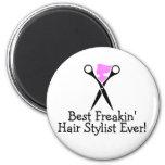 Best Freakin Hair Stylist Ever Pink Black Refrigerator Magnets
