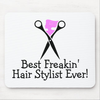 Best Freakin Hair Stylist Ever Pink Black Mouse Pad