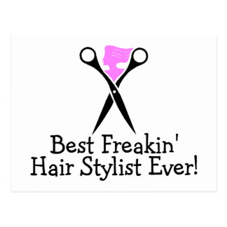 Best Freakin Hair Stylist Ever Pink Black Postcard