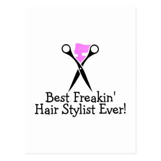 Best Freakin Hair Stylist Ever Pink Black Postcard