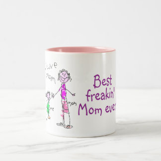 Best Freakin Mom Ever (Kid) Two-Tone Coffee Mug