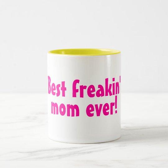 Best Freakin Mom Ever Pink Two-Tone Coffee Mug