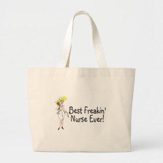 Best Freakin Nurse Ever Large Tote Bag
