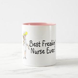 Best Freakin Nurse Ever Two-Tone Coffee Mug