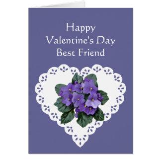 Best Friend African Violet Flower Valentine Poem Card