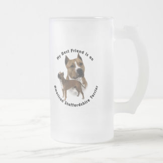 Best Friend American Staffordshire Terrier Frosted Glass Beer Mug
