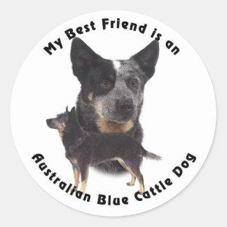 Best Friend Australian Blue cattle Dog Round Stickers