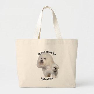 Best Friend Bichon Frise Large Tote Bag