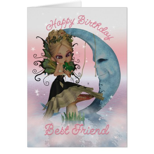 Best Friend Birthday Card With Moonies Cute Fairy – Best Friend Birthday Card