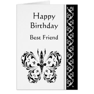 Best Friend Birthday Classic Black White Butterfly Greeting Card
