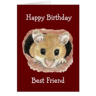 Best Friend Birthday Cute Peeking Mouse Fun Card