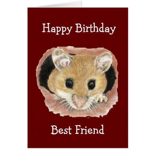 Best Friend Birthday Cute Peeking Mouse Fun Greeting Card