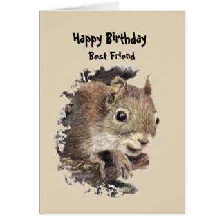 Best Friend Birthday Fun with Squirrel Card