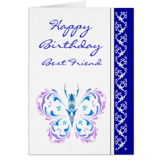 Best Friend Birthday Pretty Pastel Butterfly Card