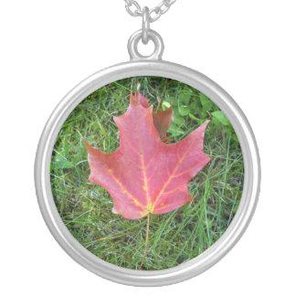 Best Friend  Birthday Red Maple Leaf Round Pendant Necklace