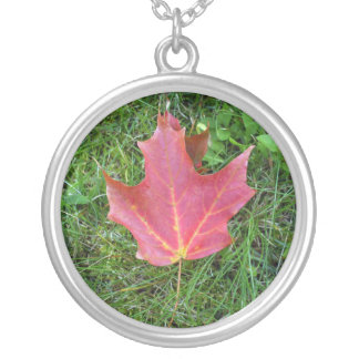 Best Friend  Birthday Red Maple Leaf Silver Plated Necklace