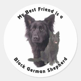 Best Friend Black German Shepherd Round Stickers