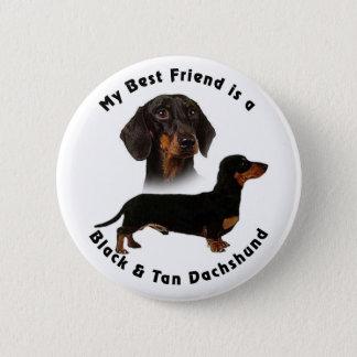 Best Friend Black Tan Dachshund Button