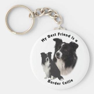 Best Friend Border Collie Basic Round Button Keychain