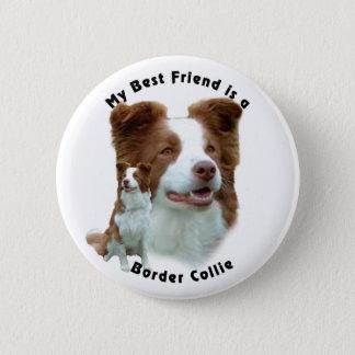 Best Friend Border Collie Brown Pinback Button
