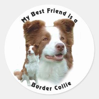 Best Friend Border Collie Brown Round Stickers