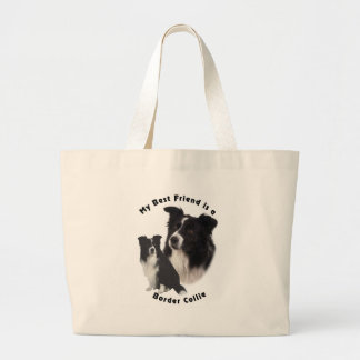 Best Friend Border Collie Large Tote Bag