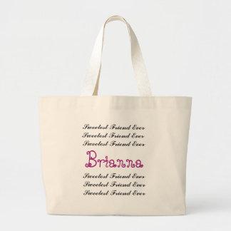 BEST FRIEND Custom Name Sweetest Friend Ever Large Tote Bag