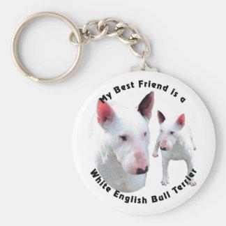 Best Friend English Bull Terrier White Keychain