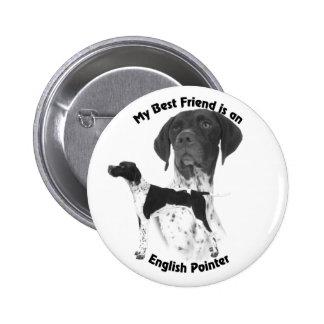 Best Friend English Pointer BW Pinback Button