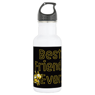 Best Friend Ever Black-and-Yellow Cat Water Bottle