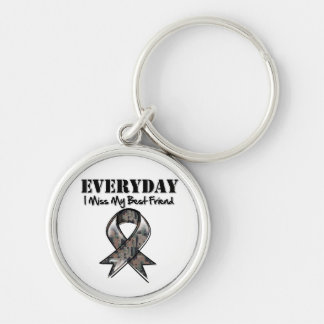 Best Friend - Everyday I Miss My Hero Military Silver-Colored Round Keychain
