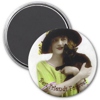 Best Friend Forever Woman & Cat Magnet